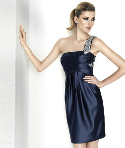 elegant and stylish navy blue cocktail dress