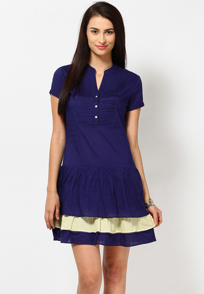 buttoned navy blue dress