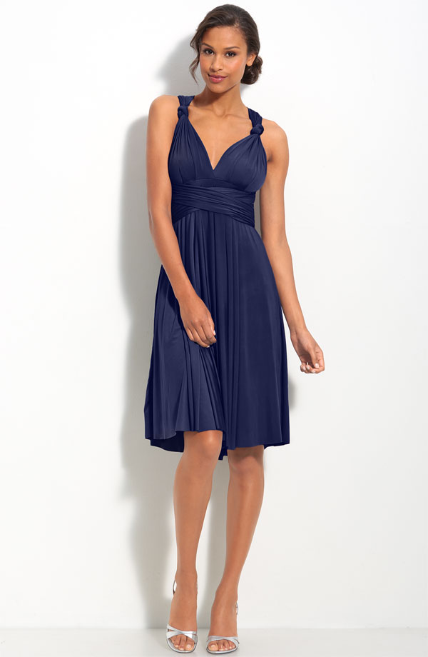 cheap a-line navy blue dress