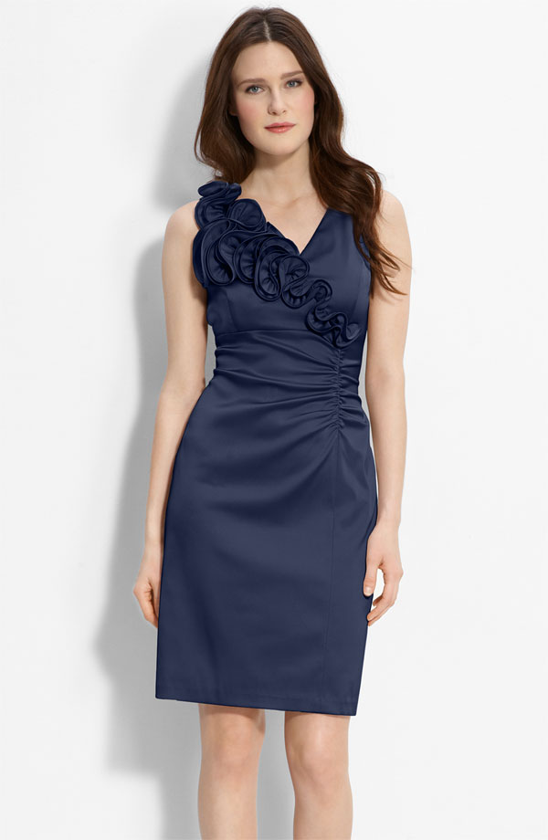 columned navy blue dress
