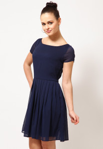knee length short sleeve navy blue dress