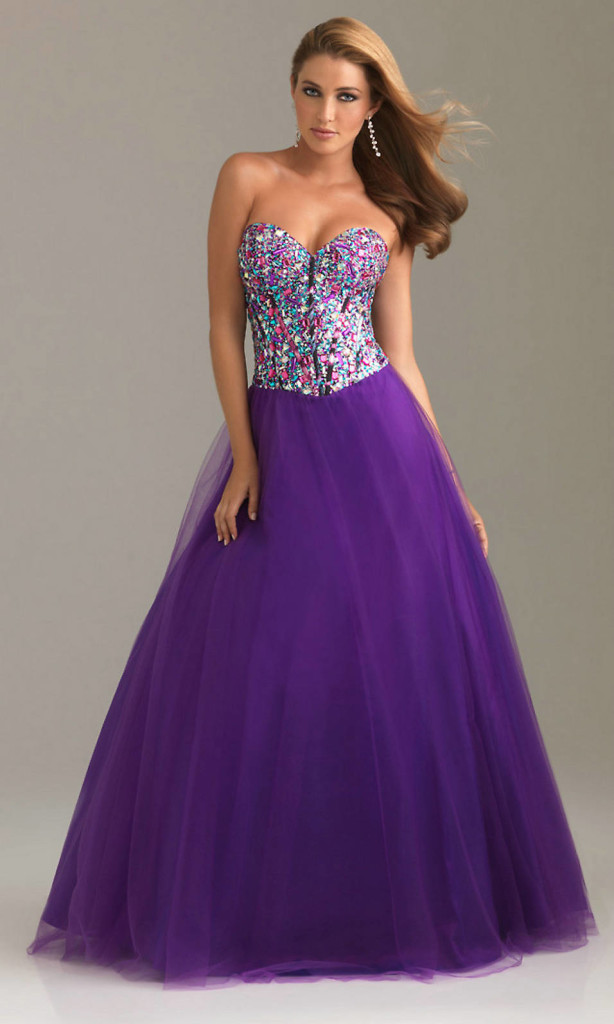 long strapless purple prom dresses