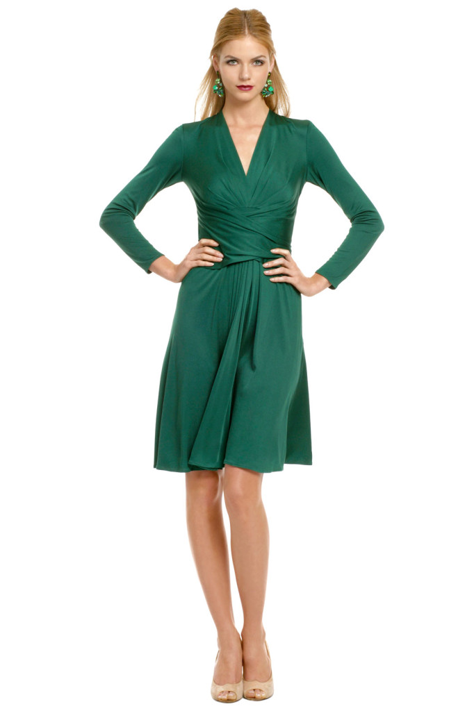 natural emerald green cocktail dress