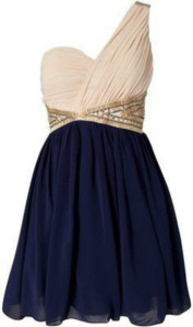 one shoulder navy blue dress