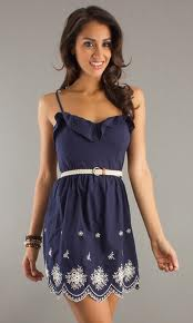 spaghetti strap navy blue dress