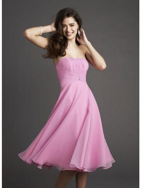 strapless pink knee length dresses