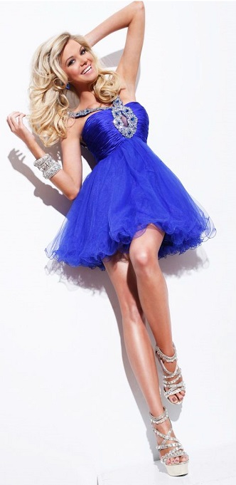 Beaded Royal Blue Cocktail Dress For Parties