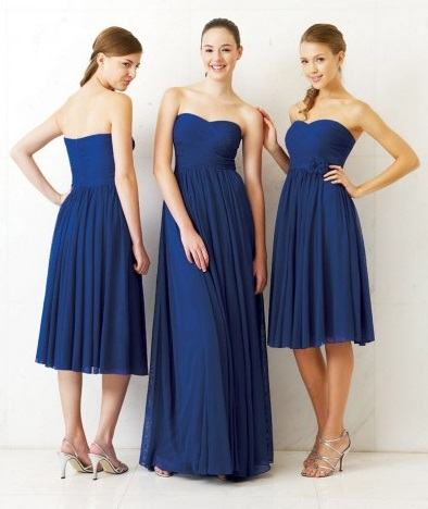 Beautiful Short And Long Navy Blue Bridesmaid Dresses