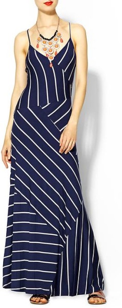 Calvin Klein Navy Blue And White Striped Maxi Dress