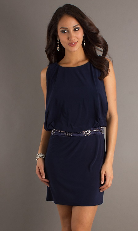 Chic Short Navy Blue Prom Dresses