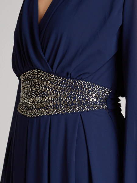 Find The Best Navy Blue Chiffon Maxi Dress