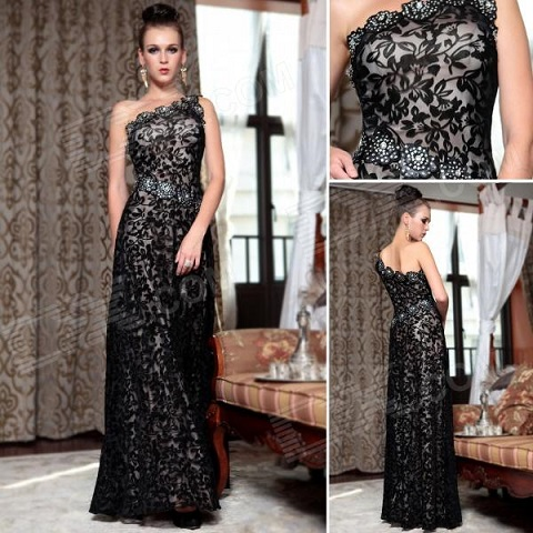 Gothic Style Lace Evening Gowns
