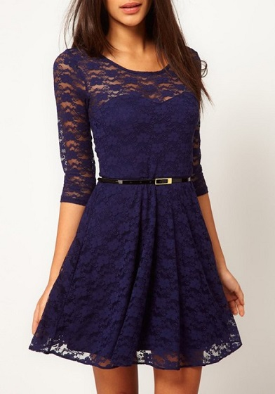 Petite Navy Blue Lace Cocktail Dress