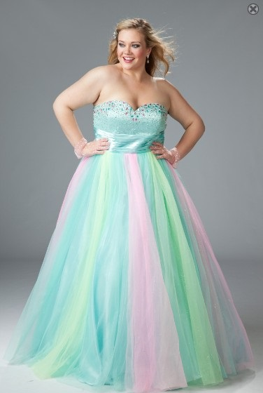 Rainbow Plus Size Ball Gowns