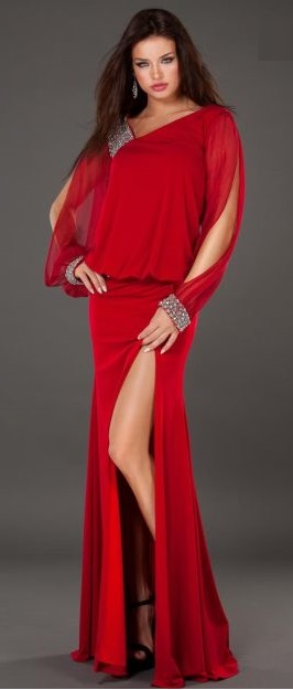 Sexy and Classic Red Long Sleeve Formal Gowns