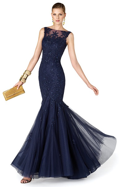 Stylish Long Navy Blue Prom Dresses