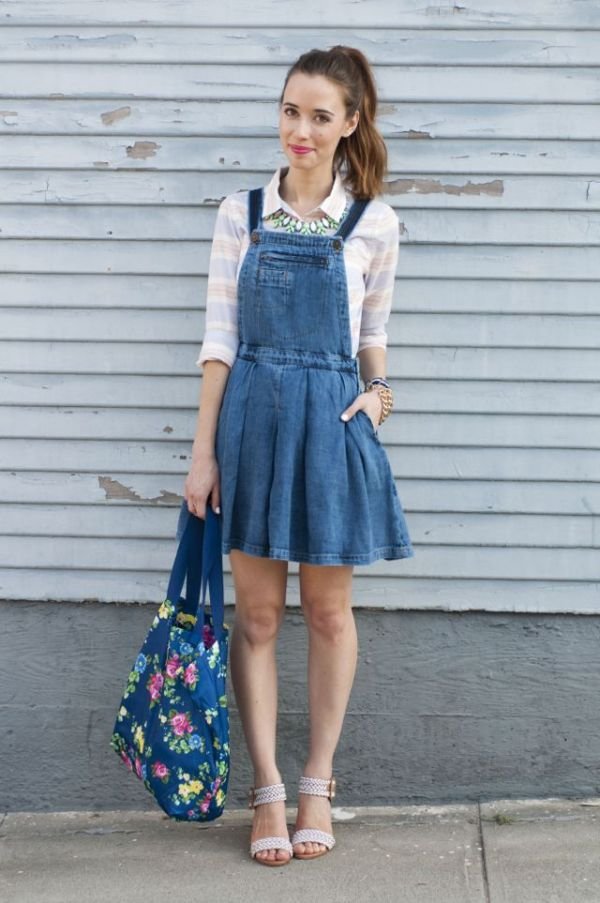 cute denim overall dress