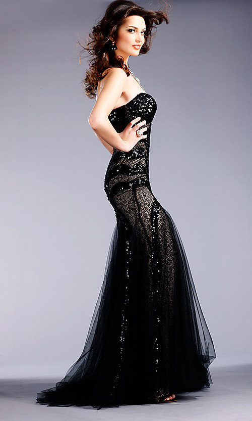 elegant black lace formal dress