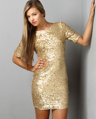 elegant gold sequin dress