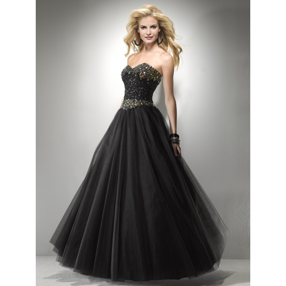 prom black formal dress