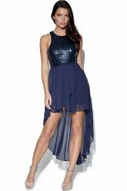 sleeveless chiffon navy blue dress