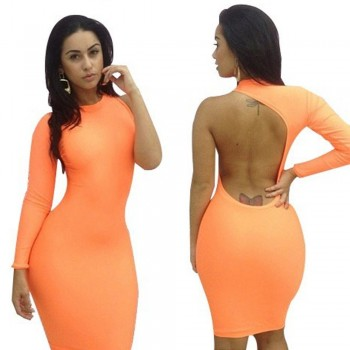 orange sexy long sleeve dresses