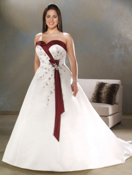 plus size bridal gowns with color trim