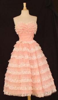 super pink chiffon vintage prom dresses